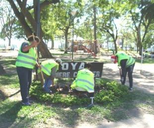 foto: Goya acondiciona la plaza Italia para la FIesta del Surubí