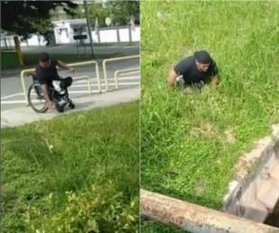 foto: Un hombre en silla de ruedas  salvó a un gatito de morir ahogado