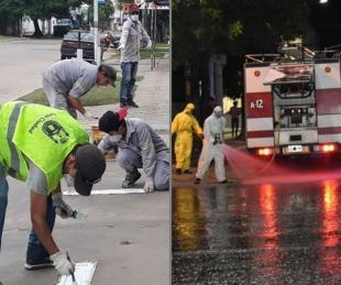 foto: Bomberos Policía y Municipio brindan tareas sanitarias