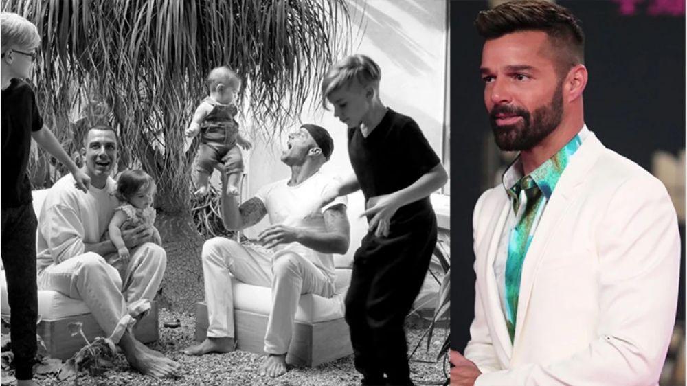 Ricky Martin posteó por primera vez una foto junto a su marido y sus hijos