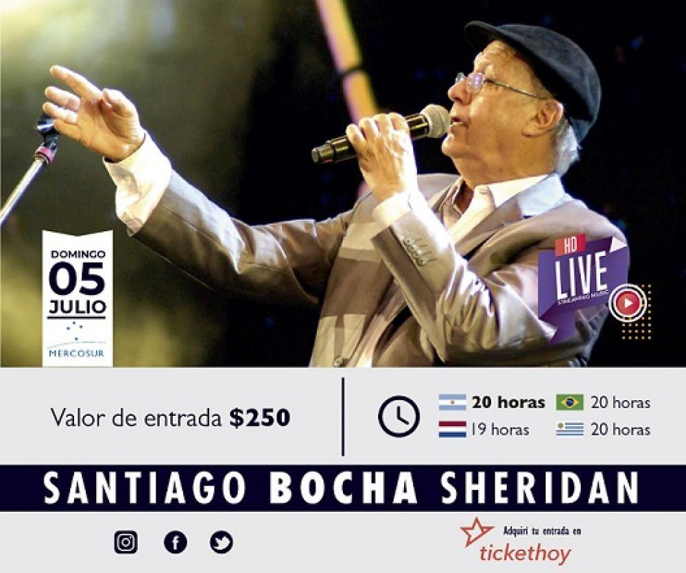 Bocha Sheridan cantará para todo el Mercosur el domingo 5 de julio