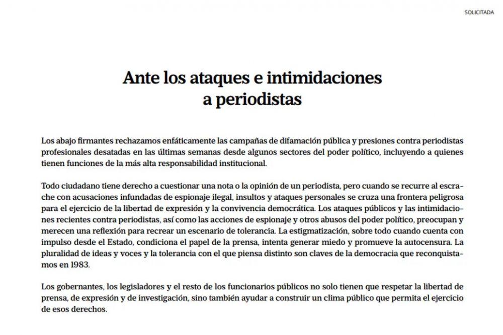 Más de 300 periodistas repudiaron las intimidaciones contra colegas