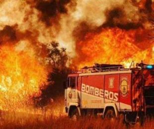 foto: El dramático momento en que los bomberos escapan entre las llamas